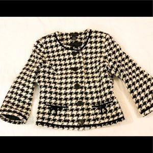 Houndstooth Context Size 4 Jacket Button Up Blk/Wh